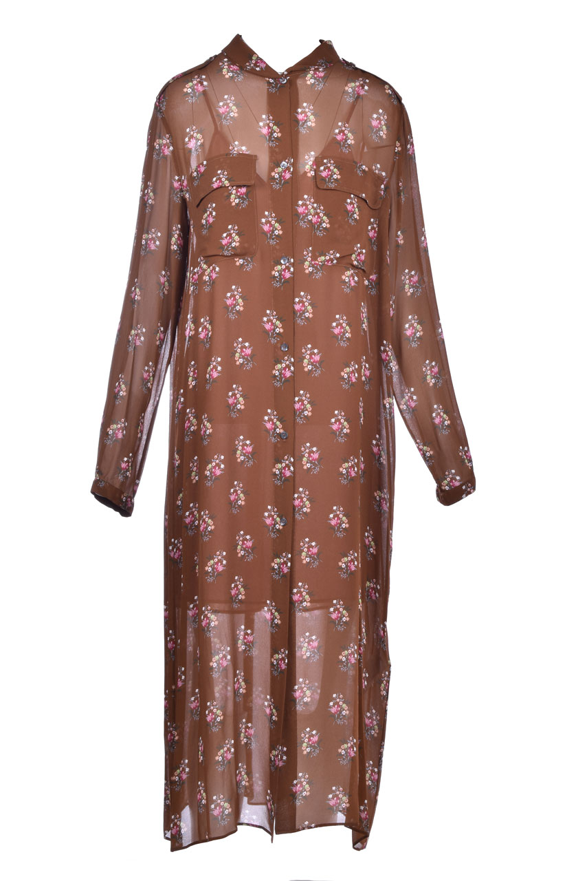 Coffee shirt dress with flower print SEMICOUTURE | Dresses | Y0WS13FAN42