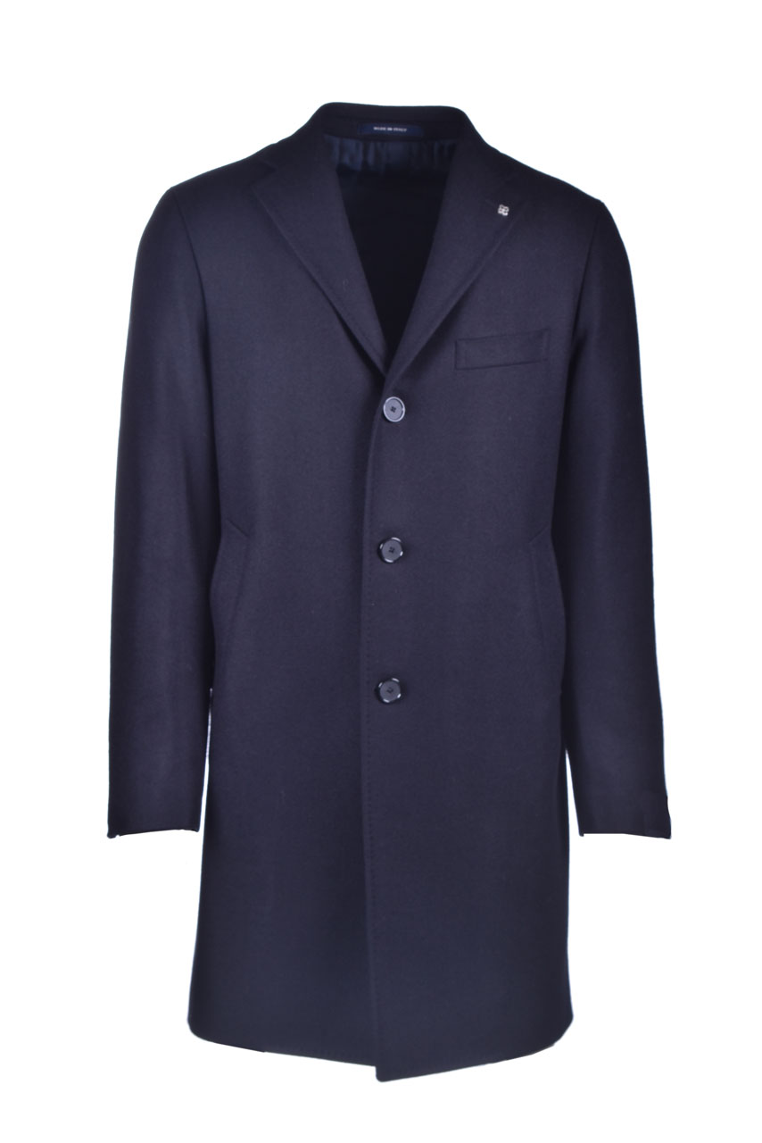 Single-breasted coat in blue cashmere blend wool TAGLIATORE | Overcoat | CSBM13X 44SIC040B3263