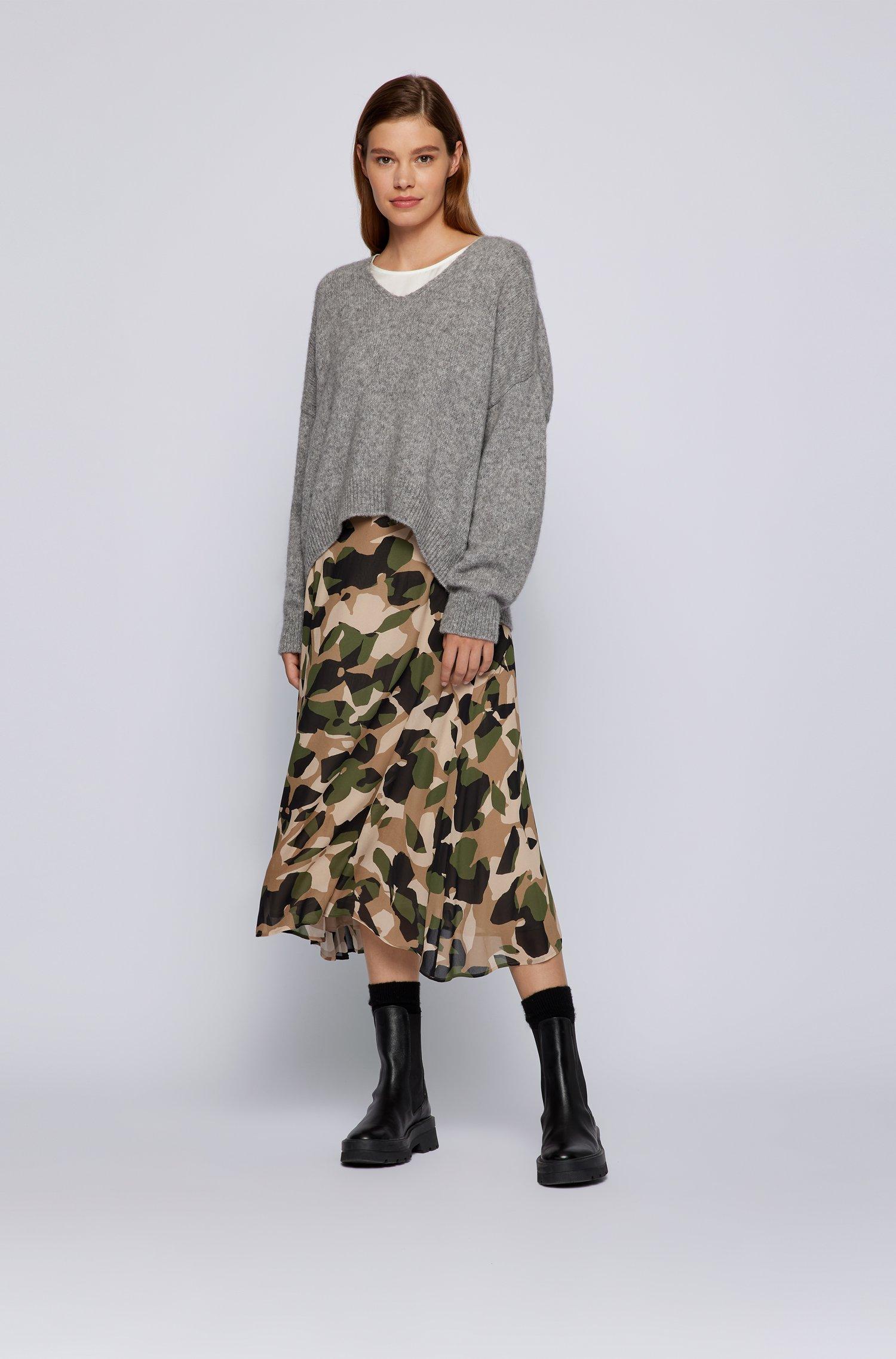 Flared skirt in printed silk BOSS   Skirts   50457563968