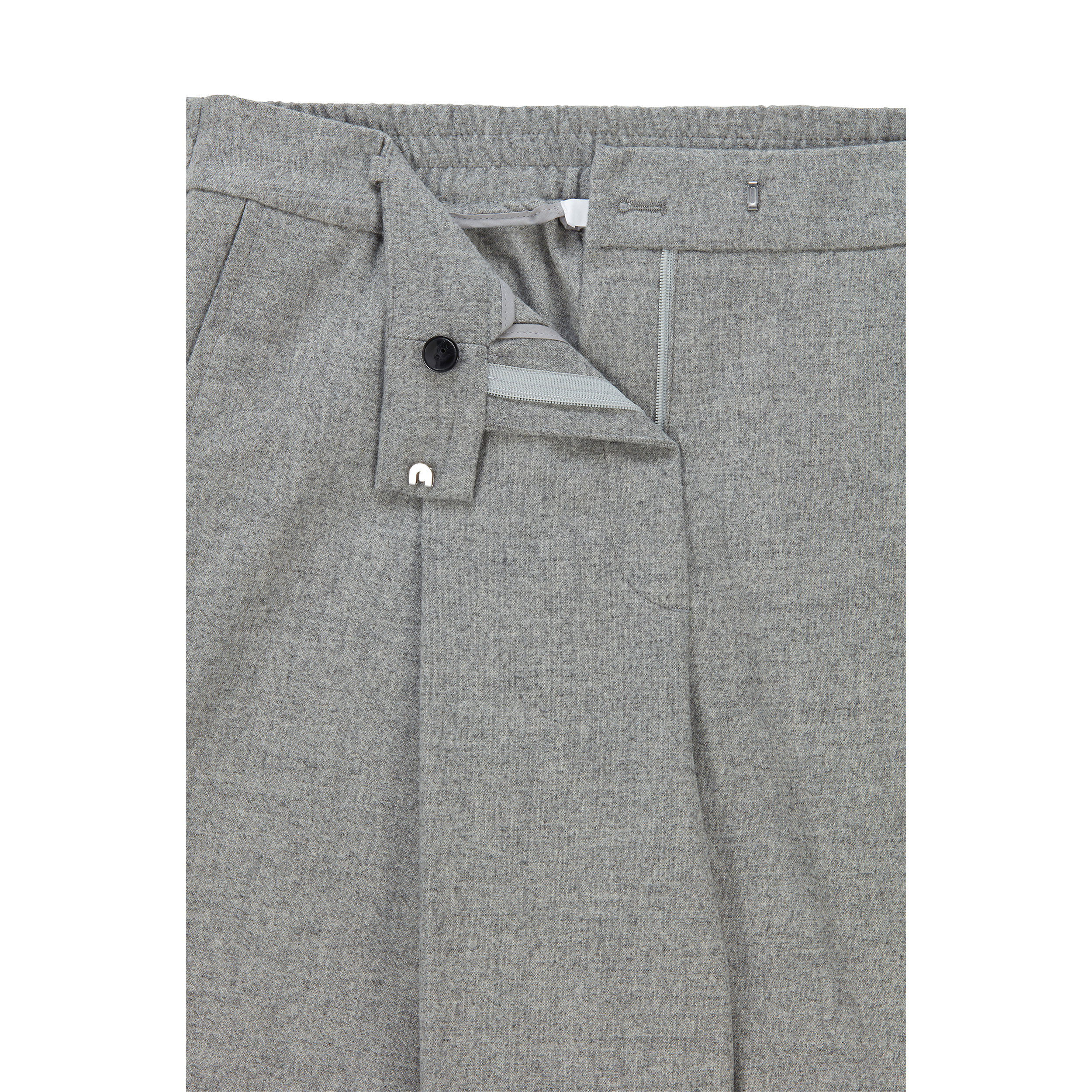 High-waisted baggy trousers in light gray wool BOSS | Pants | 50458592040
