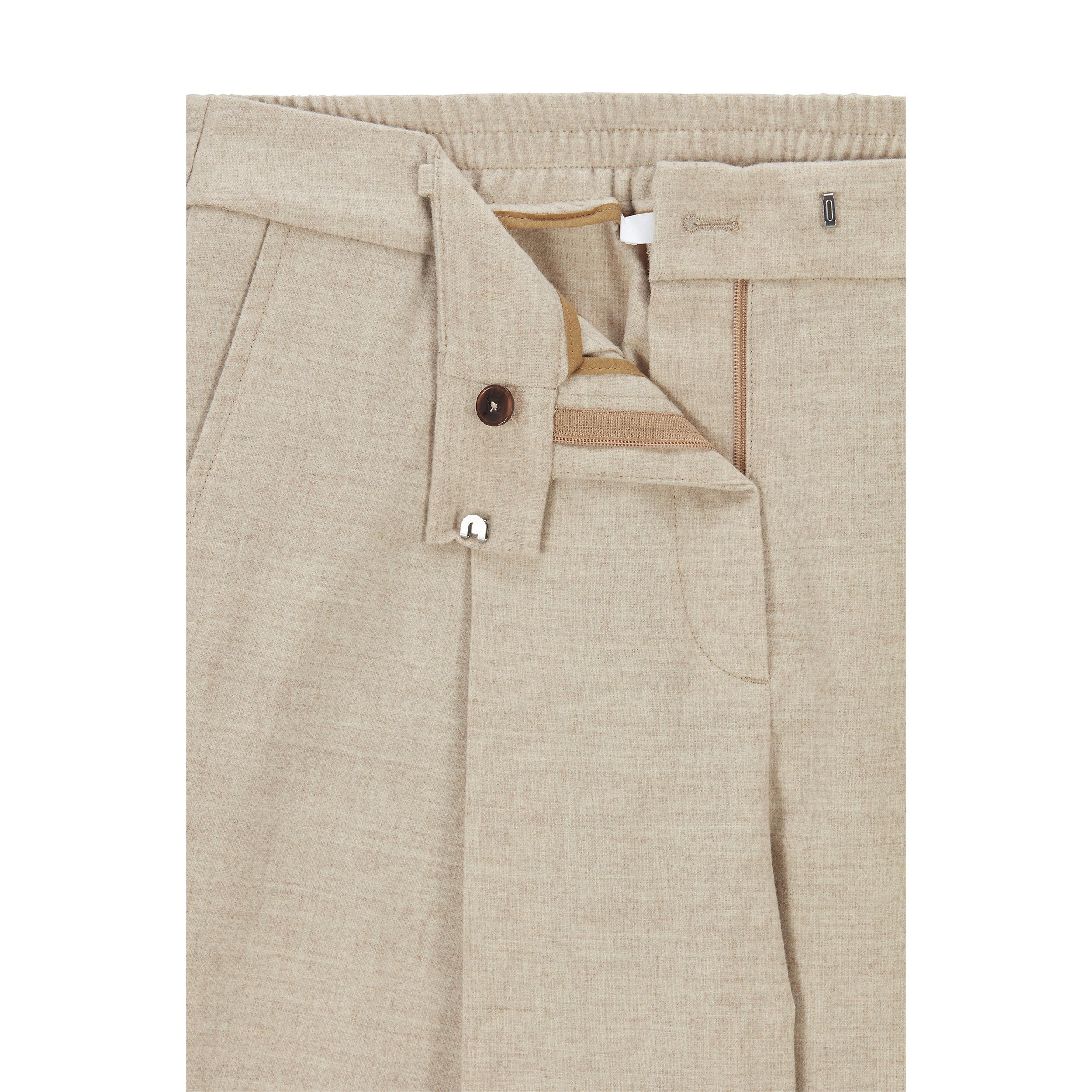 Pantalone baggy a vita alta in lana beige chiaro BOSS   Pantaloni   50458592235