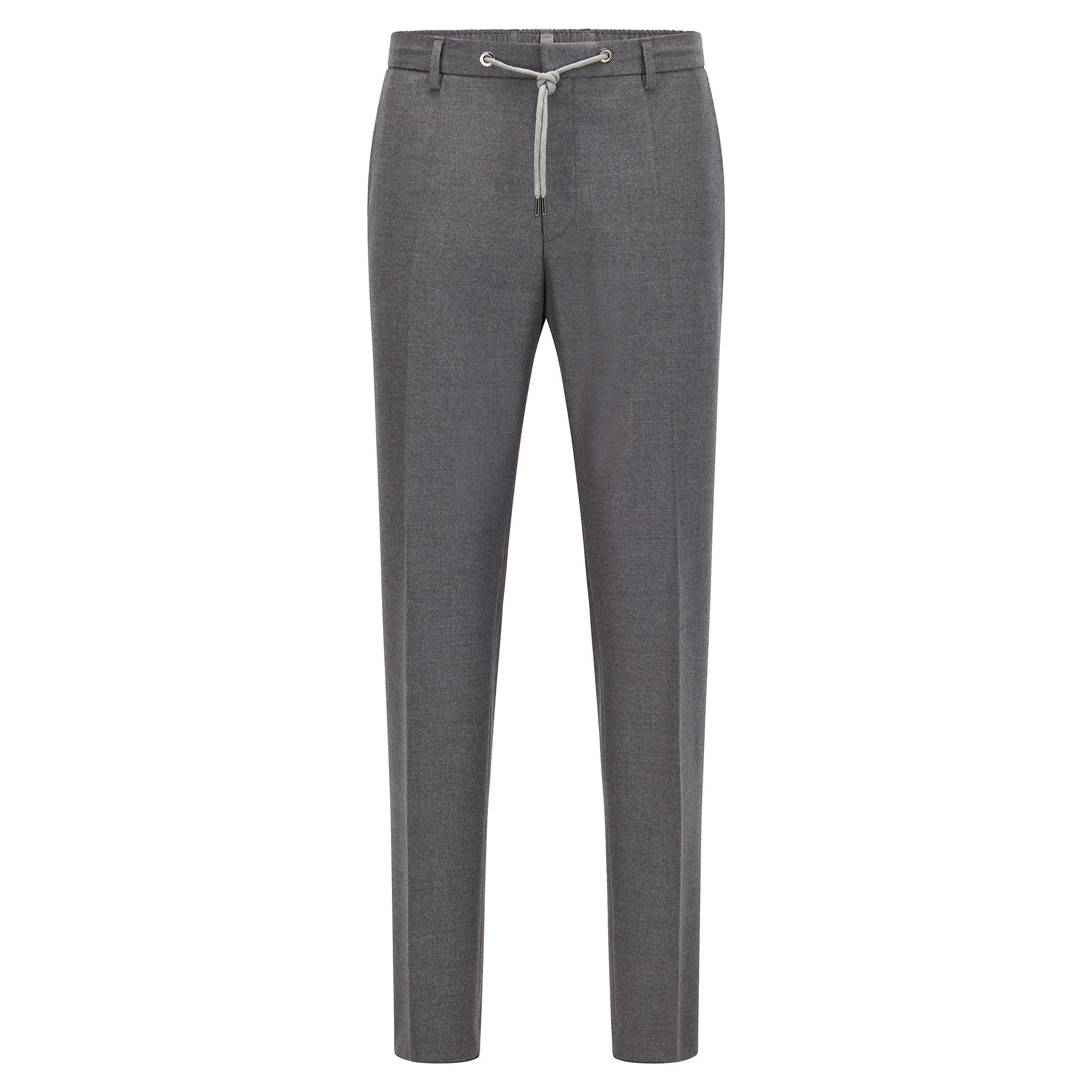 Straight cut trousers in gray flannel BOSS | Pants | 50458788030