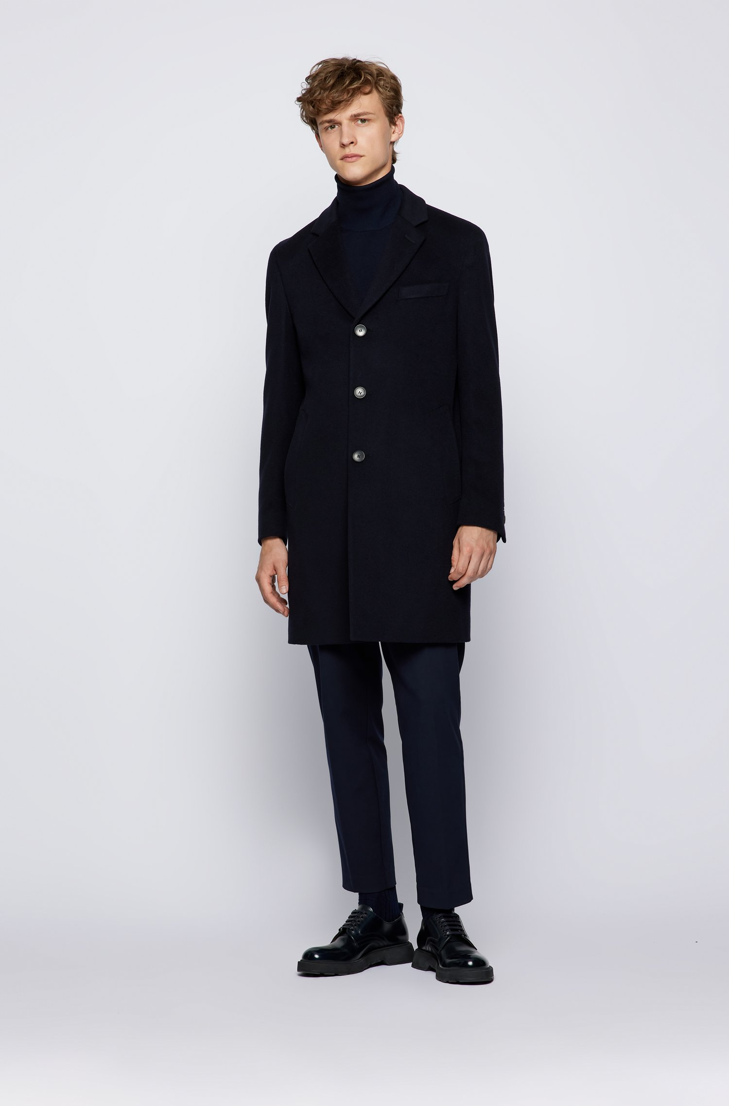 Slim fit coat in virgin wool with cashmere BOSS | Overcoat | 50459022402
