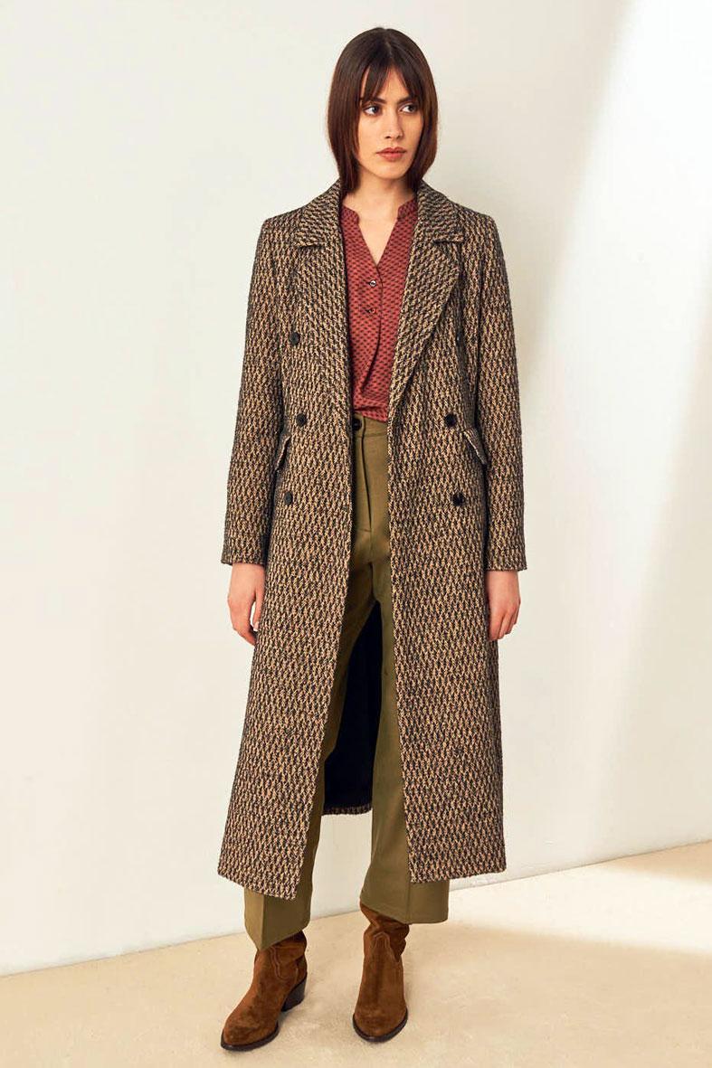 Cappotto doppio petto in microresca bouclè di lana e cotone MOMONI | Cappotti | MOC00030990