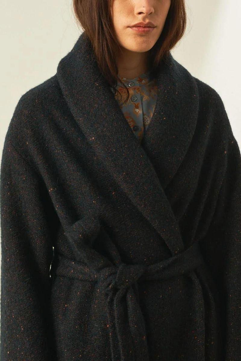 Bouclé wool herringbone coat with ripped effect MOMONI | Overcoat | MOC00058018