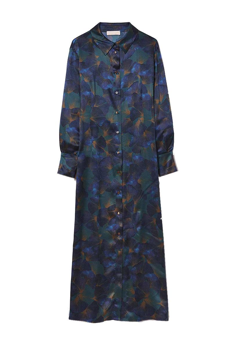 Long shirt dress in stretch printed silk satin MOMONI |  | MODR0097077