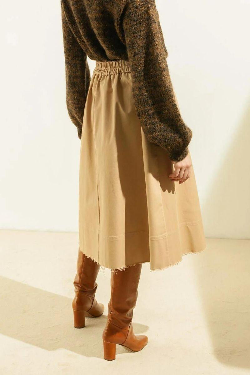 Stretch cotton gabardine midi skirt MOMONI | Skirts | MOSK0080110