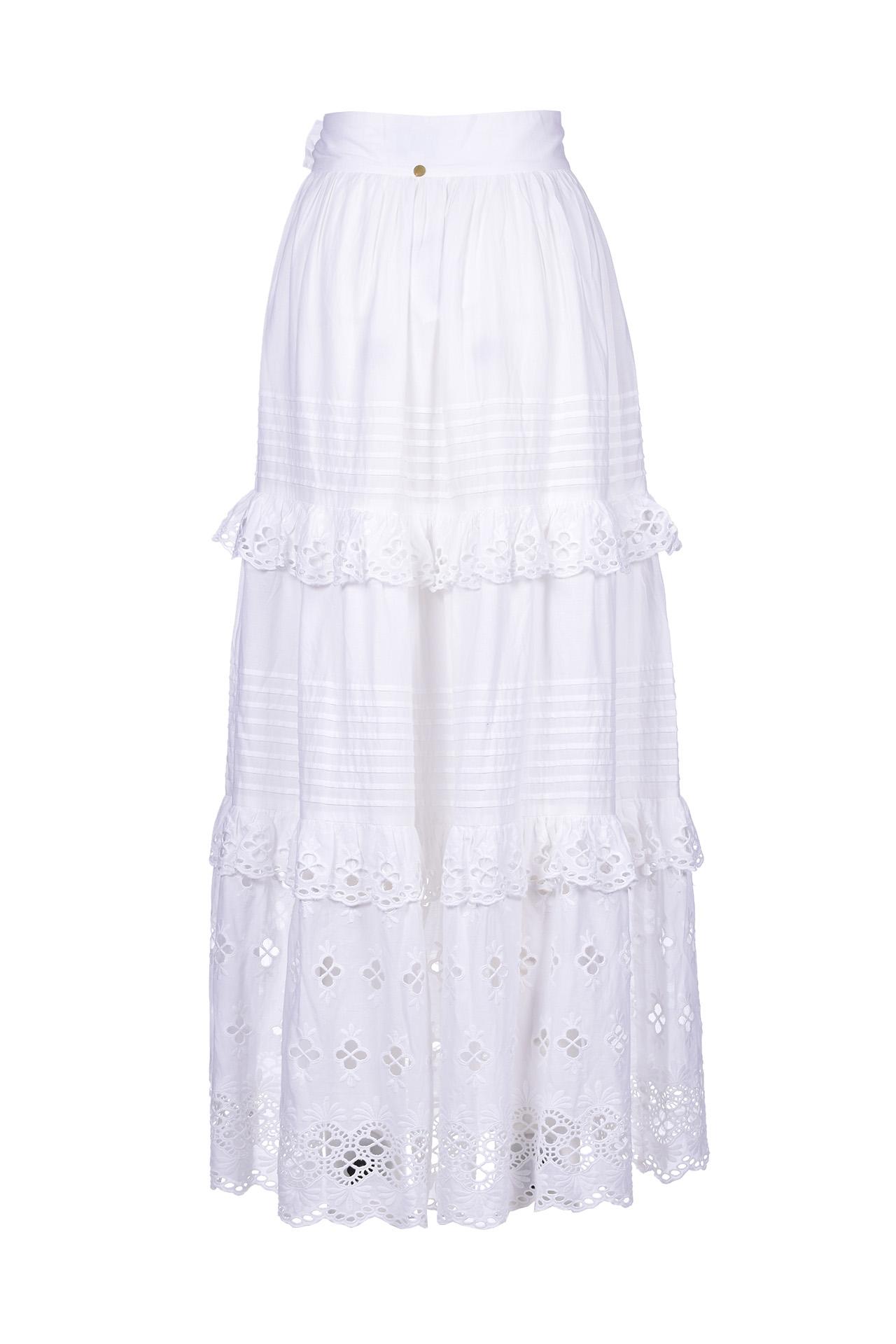 Ally long skirt with white lace ANTIK BATIK | Skirts | ALLY1SKIWHITE
