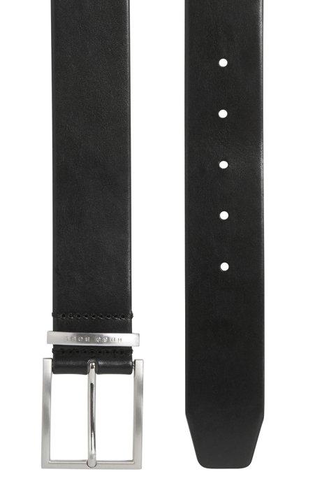 Leather belt with logo-engraved keeper BOSS   Belt   50292246001