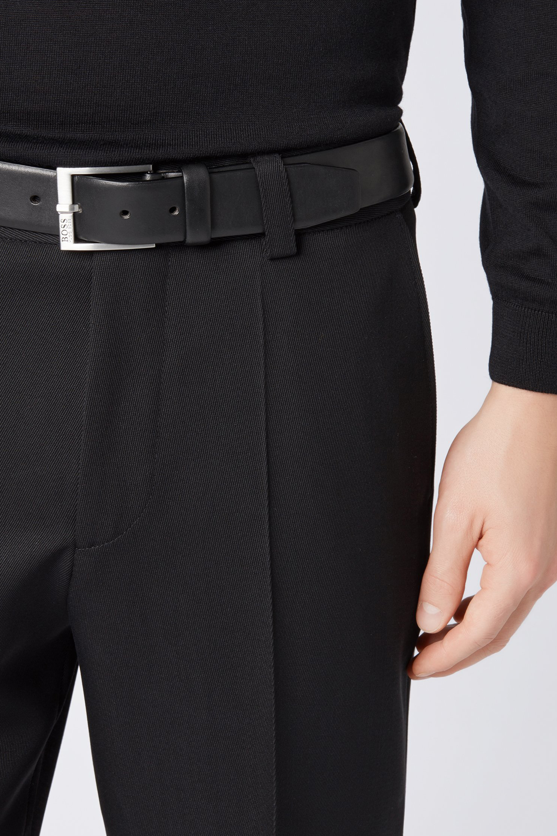 Smooth-leather belt with brushed-silver buckle BOSS | Belt | 50389781001