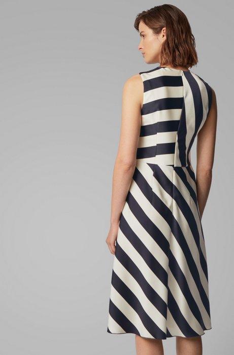 Midi-length block-stripe dress in crinkle crepe BOSS   Dresses   50423954963