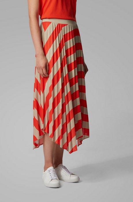 Plissé skirt with handkerchief hem and diagonal stripe BOSS   Skirts   50424008820