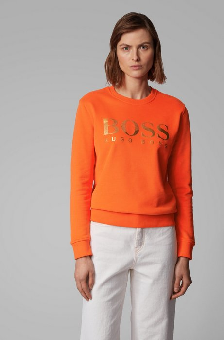 French-terry sweatshirt with mixed-print logo BOSS | Sweaters | 50424022820