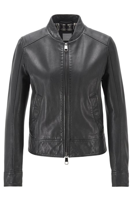 Regular-fit leather jacket with logo-print lining BOSS | Jackets | 50424624001