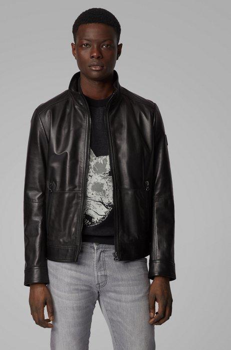 Slim-fit aviator jacket in leather Joles 50425575 BOSS   Jackets   50425575001