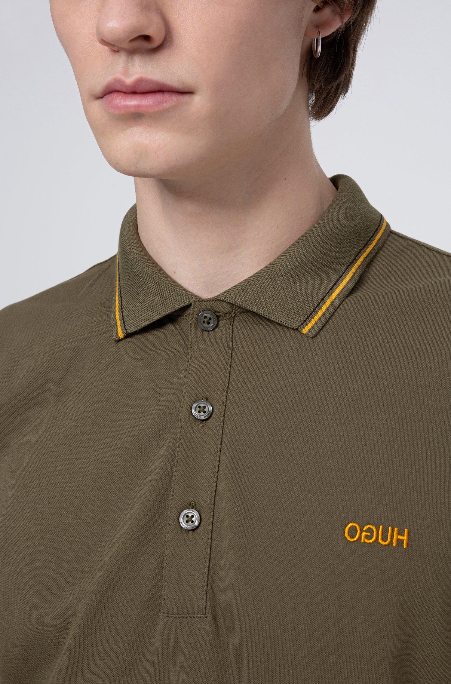 dinoso Slim-fit polo shirt with tipping stripes - khaki BOSS   Polo Shirts   50425770251