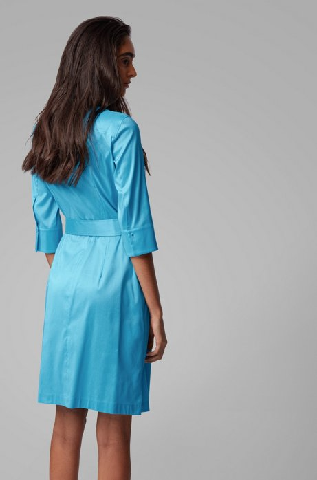 Trench-inspired shirt dress in a stretch-cotton blend BOSS   Dresses   50427524432