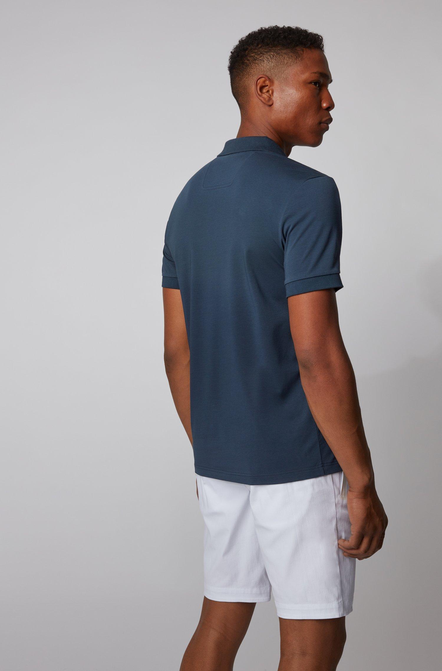 pavel Polo in misto cotone con logo curvo in rete - navy BOSS   Polo   50430642410