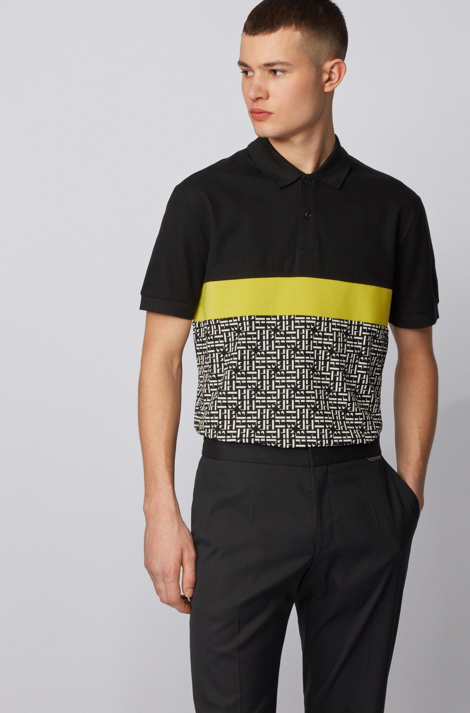 Phillipson Regular-fit cotton polo shirt with monogram panel BOSS | Polo Shirts | 50433415001