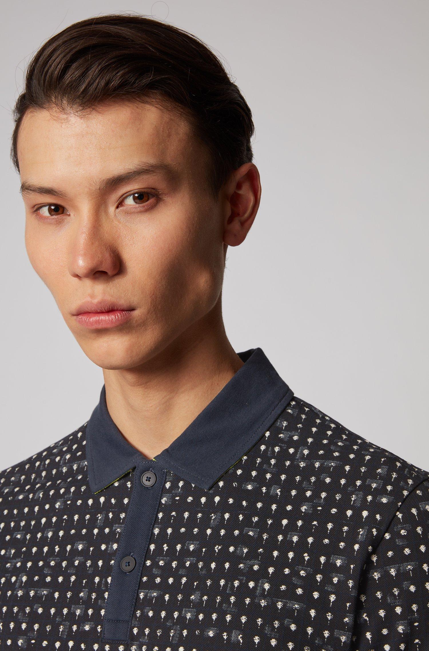 Cotton-piqué polo shirt with all-over print - dark blue BOSS | Polo Shirts | 50434823404