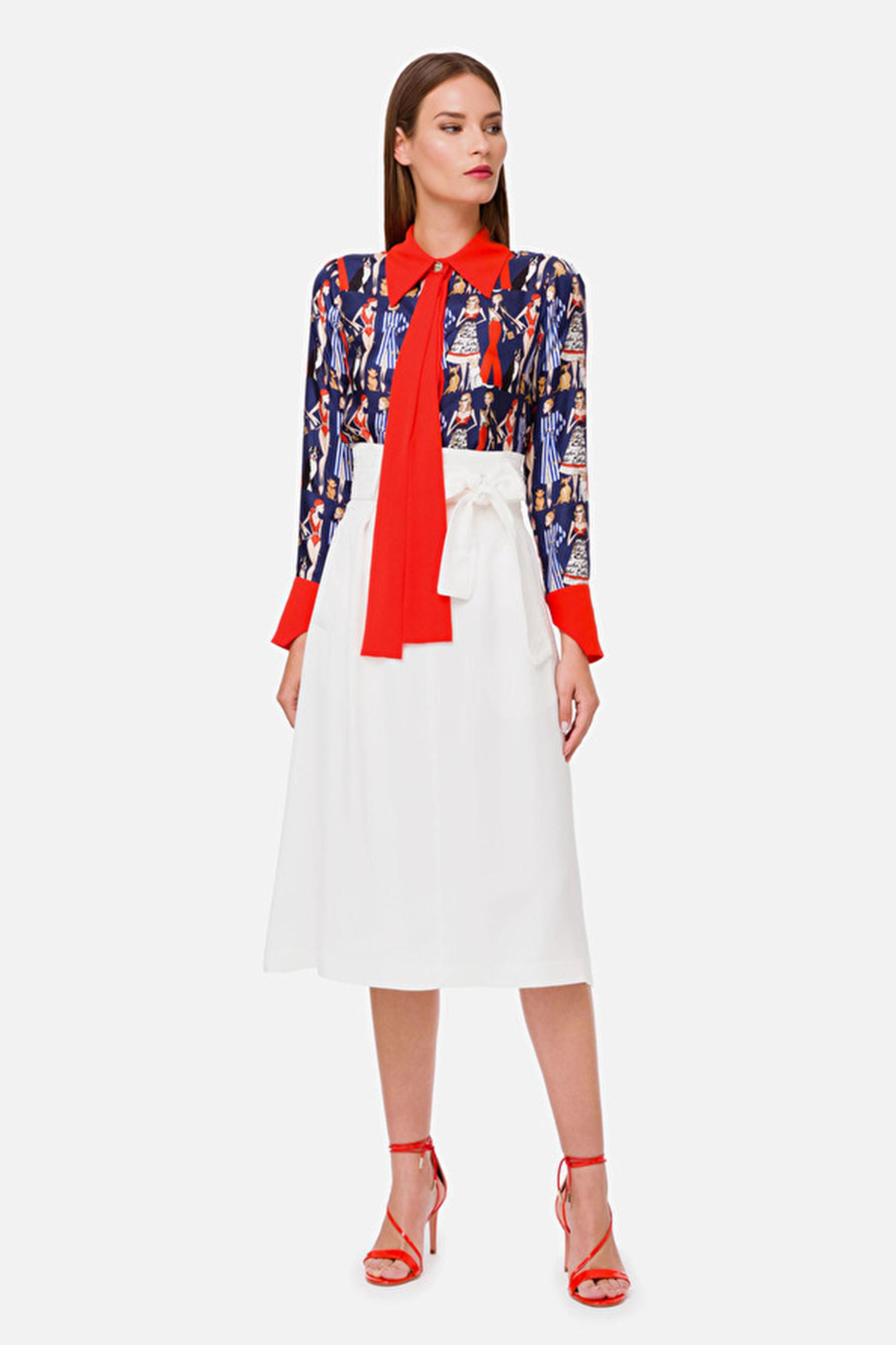 Gabardine skirt with bow ELISABETTA FRANCHI | Skirts | GO35102E2360