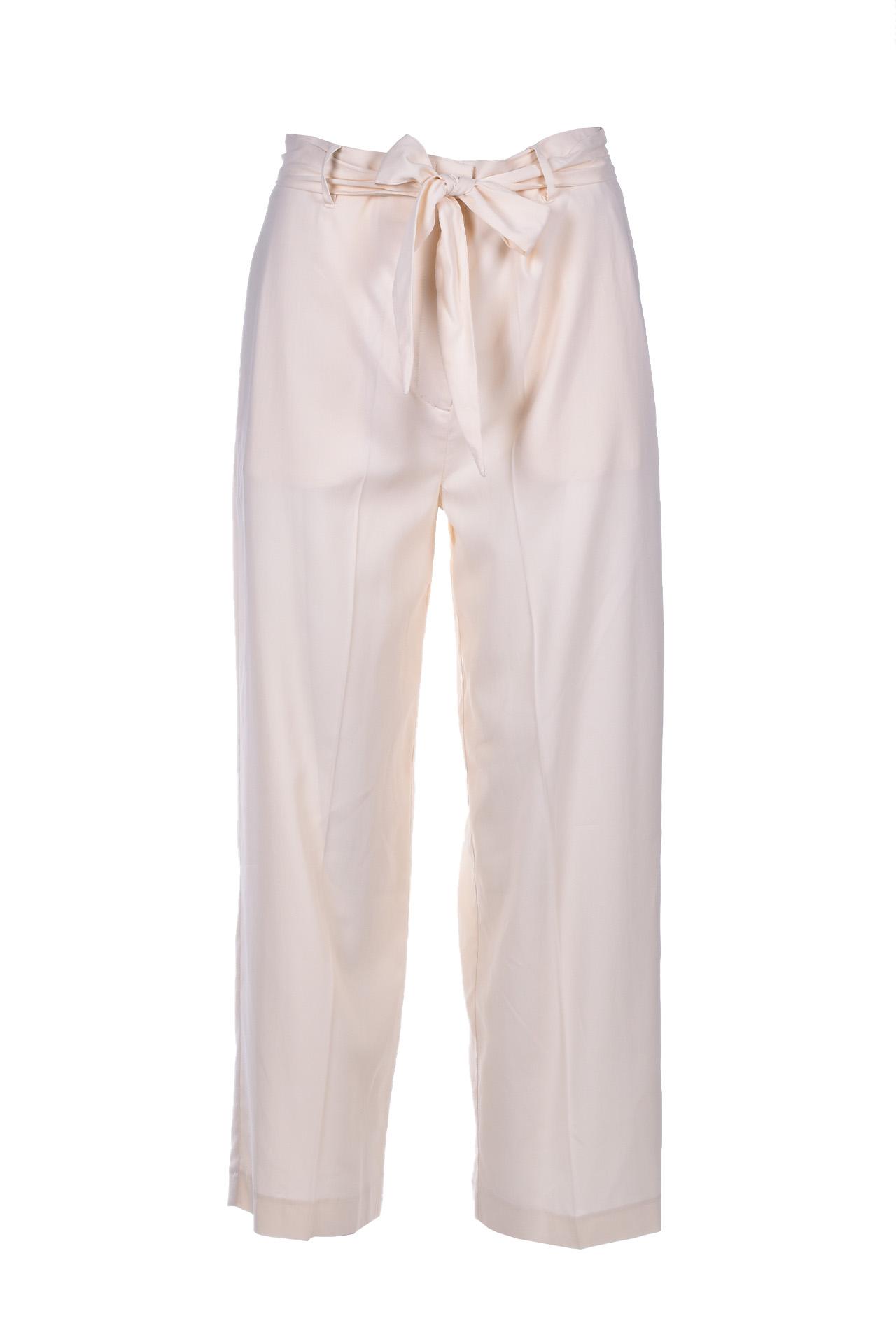 Pantalone a vita alta con cintura - panna JUCCA   Pantaloni   J3114008045