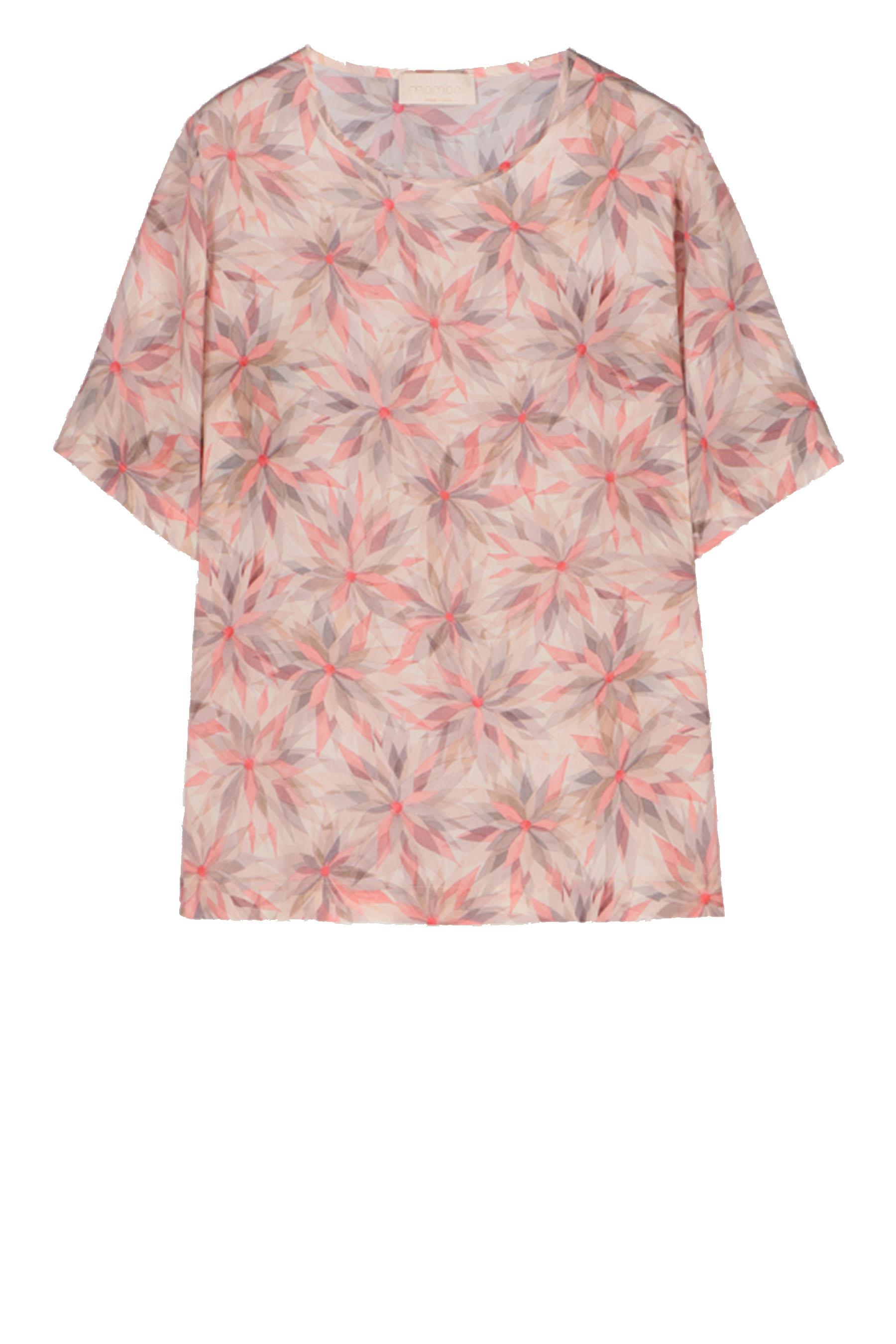 Pink pinwheel print half-sleeved blouse MOMONI | Blouse | MOBL003 02MO4091