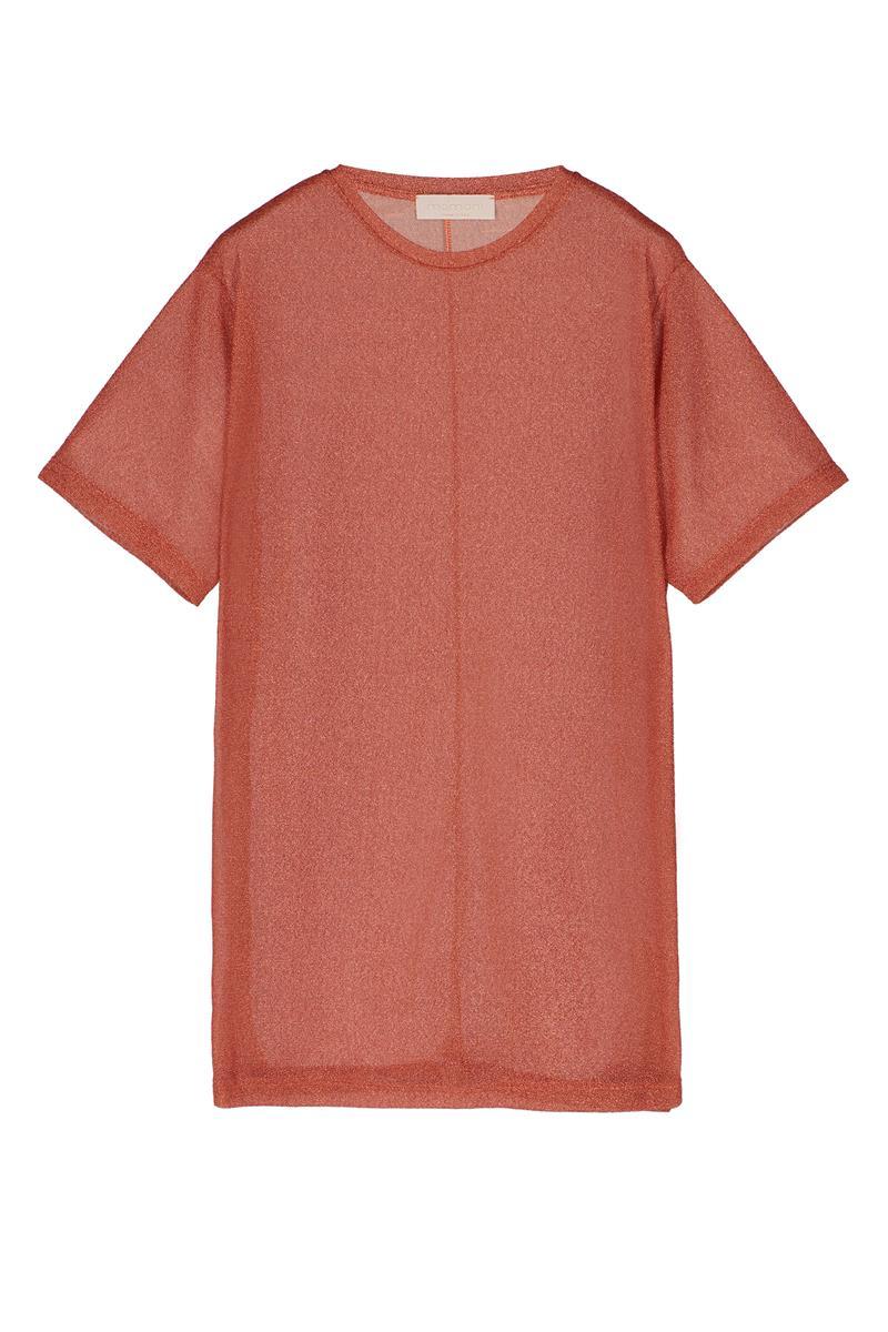 ORANGE JERSEY LUREX T-SHIRT DRESS MOMONI | Dresses | MODR034 32MO0351