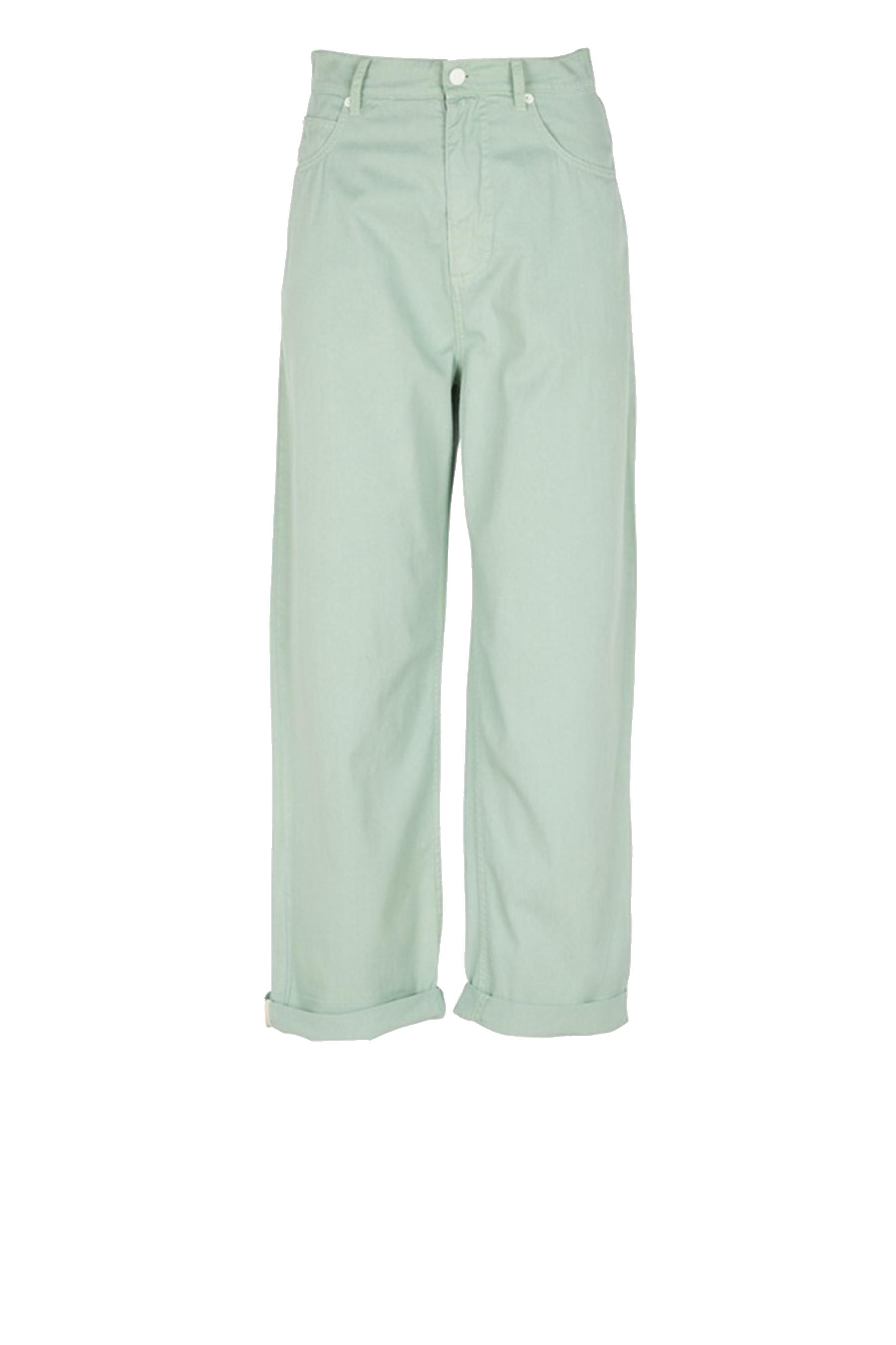 Wide trousers in Green gabardine MOMONI   Jeans   MOPA018 20MO0763