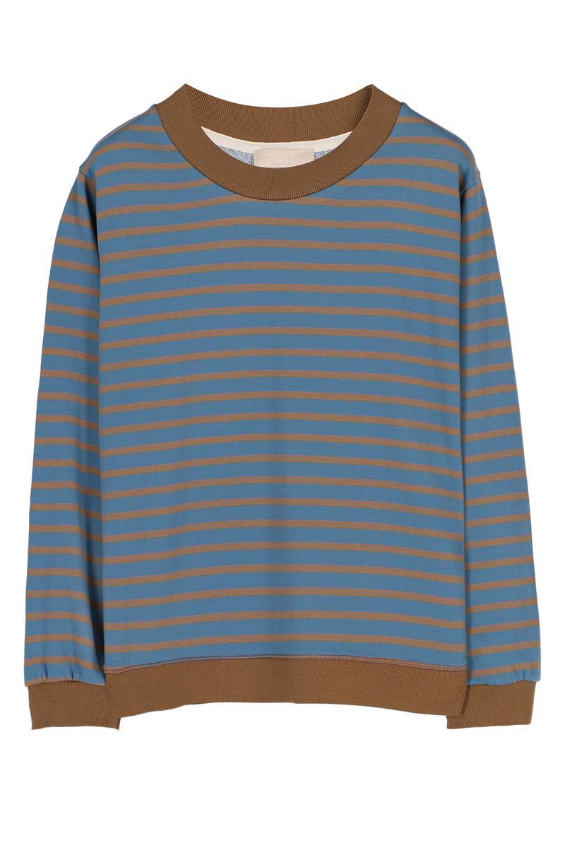 CREW NECK SWEATSHIRT IN STRIPED COTTON, LIGHT BLUE AND GREEN MOMONI | Sweatshirt | MOSW002 37MO7034