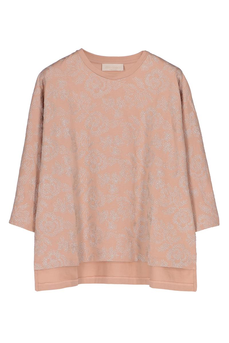 3/4 SLEEVES T-SHIRT IN SAND COTTON EMBROIDERED WITH LUREX THREAD MOMONI | T-shirts | MOTS007 34MO0110