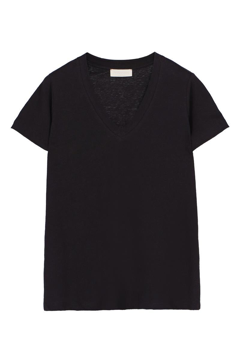 V-neck t-shirt in linen cotton jersey  MOMONI | T-shirts | MOTS008 35MO0990