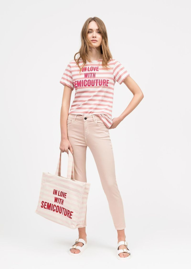 zowie pink striped t-shirt SEMICOUTURE | T-shirts | S0SJ27RIG93