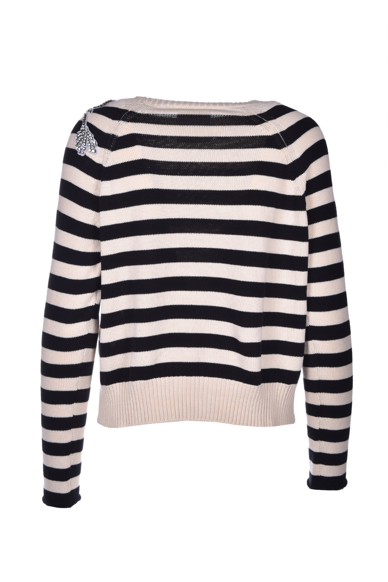 sarah Striped cotton sweater - black SEMICOUTURE | Sweaters | Y0SH01RIG87