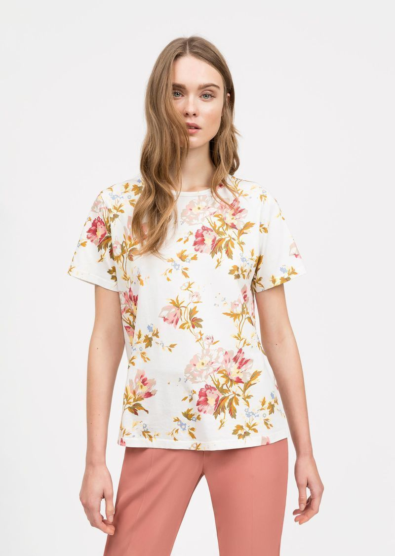 loanne T-shirt in muslin with flowers SEMICOUTURE | T-shirts | Y0SI10STP11