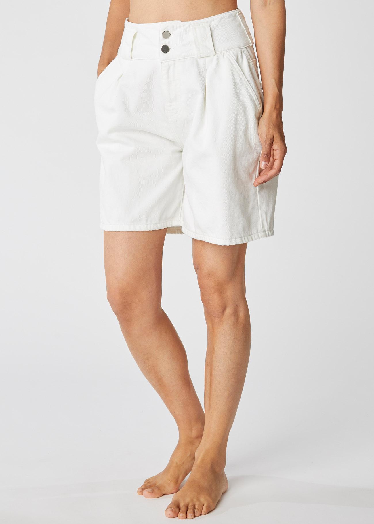 High-waisted white denim bermuda shorts ALESSIA SANTI | Shorts | 26002119035-01