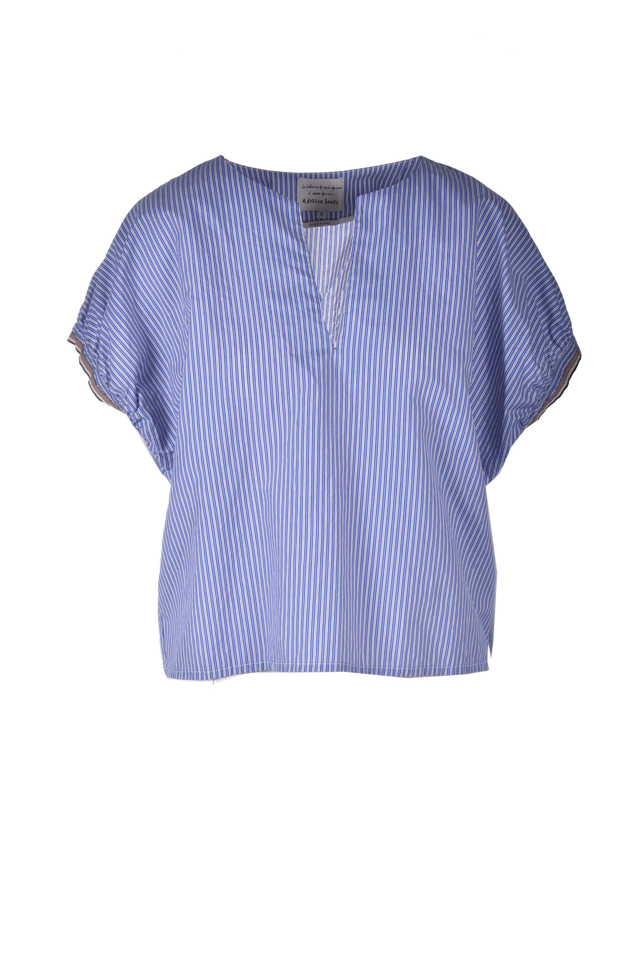 Silk blend blouse with blue stripes ALESSIA SANTI | Blouses | 45033119044-01