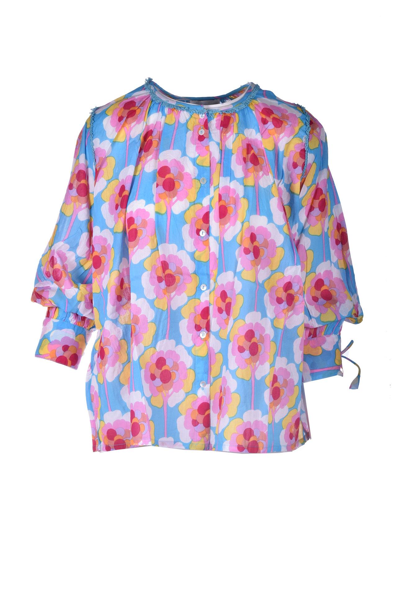 Blusa oversize in voile di cotone con fiori ANTIK BATIK | Bluse | FLOW1BLOBLUE