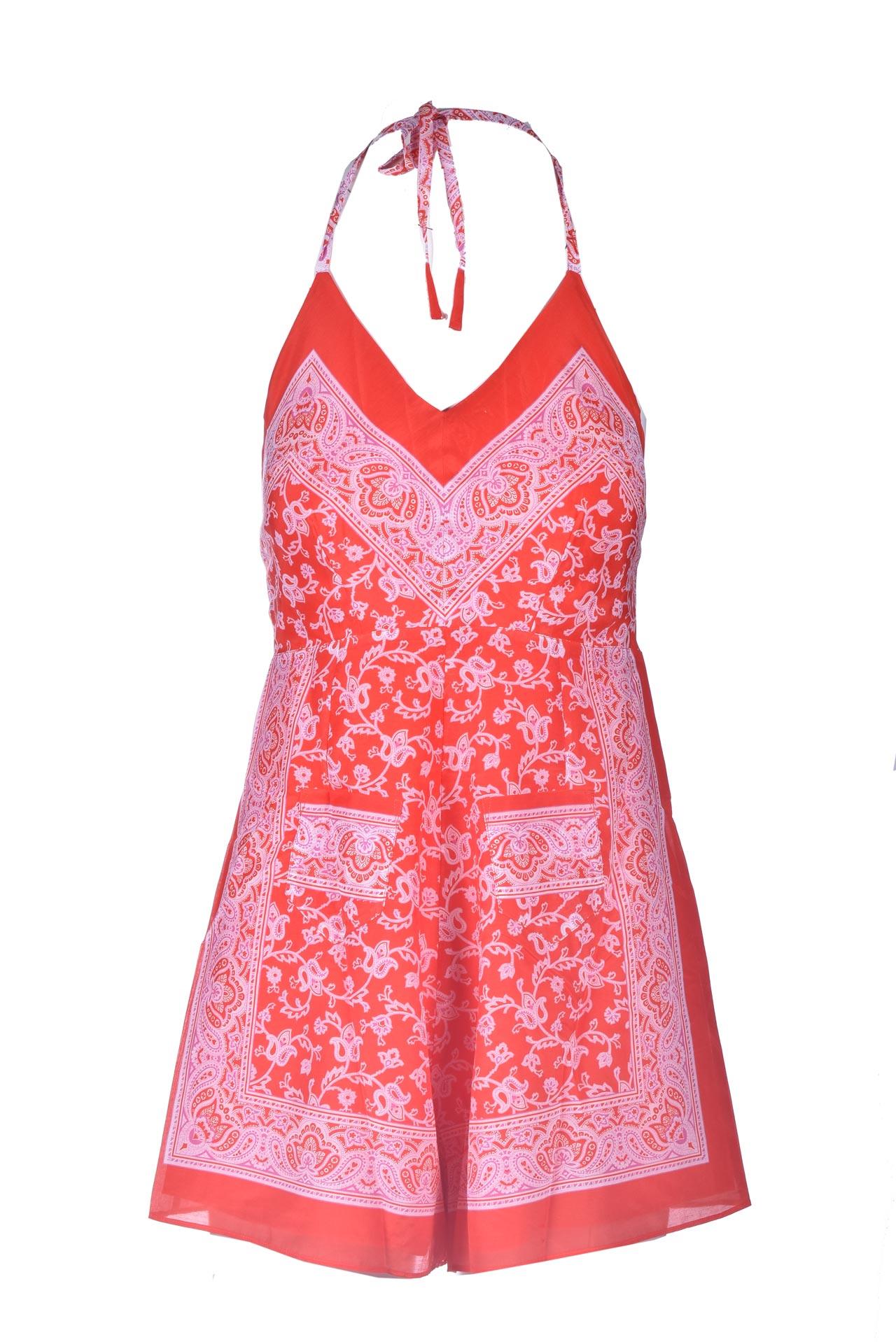 Short jumpsuit in red printed silk ANTIK BATIK      ILONI1JUMRED