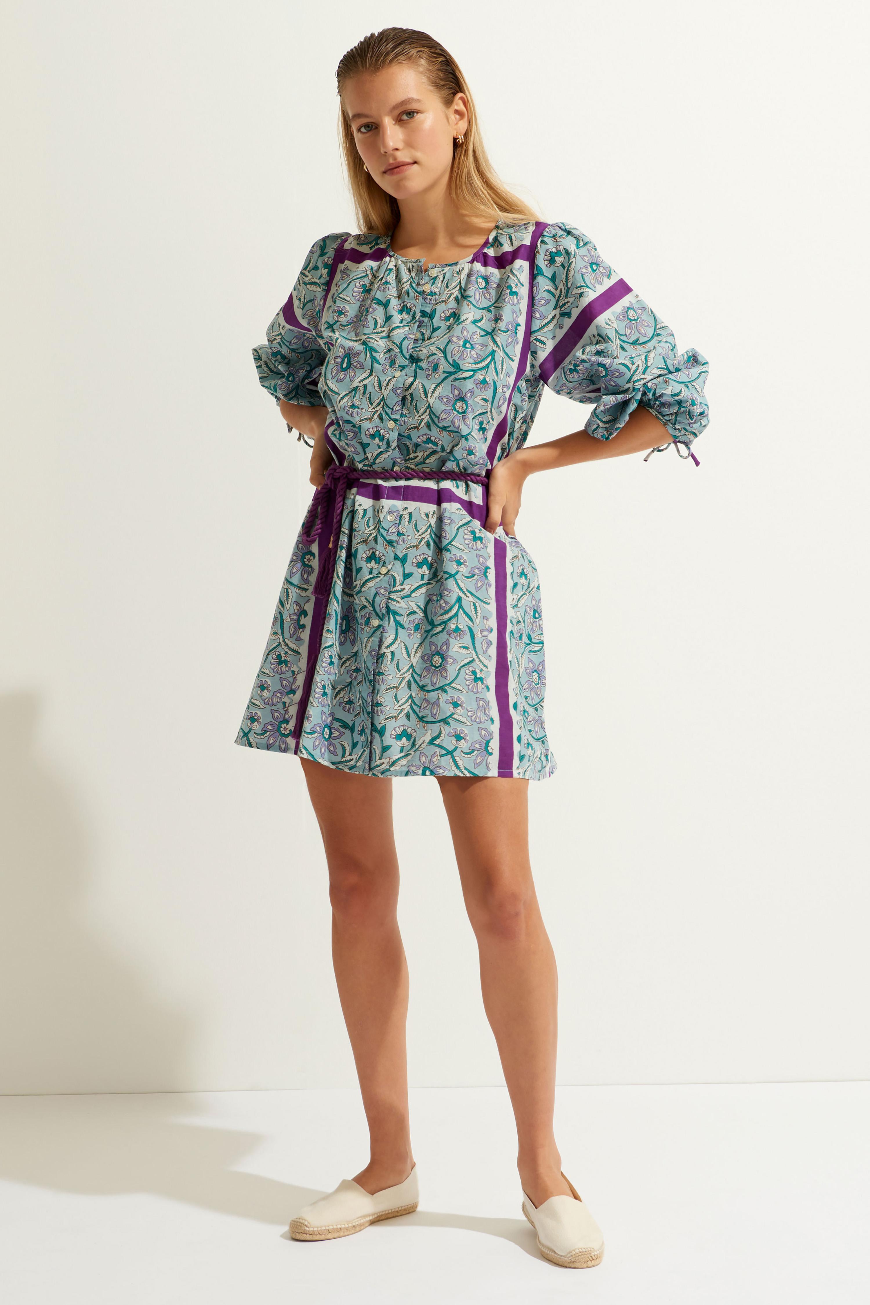 Blue printed cotton voile mini dress ANTIK BATIK |  | MARIUS1MDRLIGHTBLUE