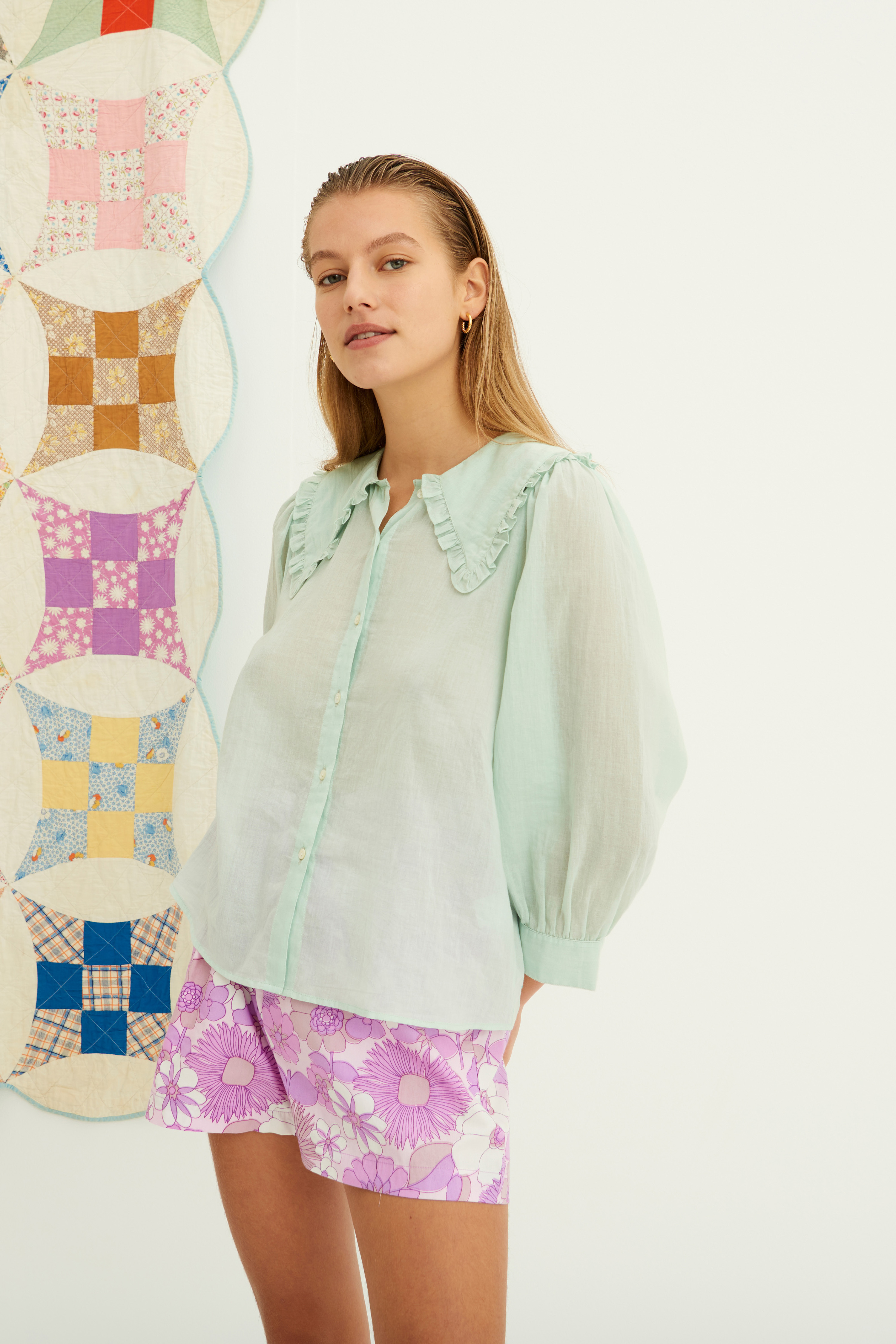 Aqua green cotton voile blouse ANTIK BATIK | Blouses | MILADY1BLOLIGHT AQUA