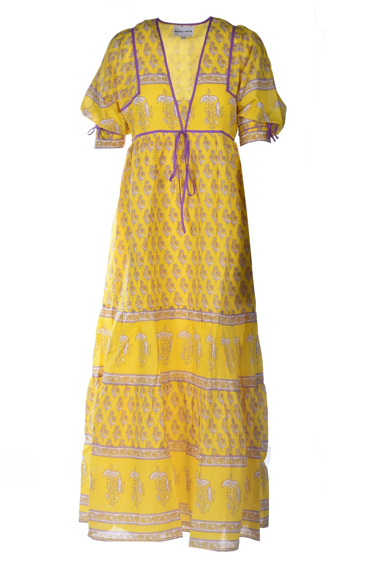 Empire cut maxi dress in yellow cotton voile ANTIK BATIK |  | MORI1LDRYELLOW