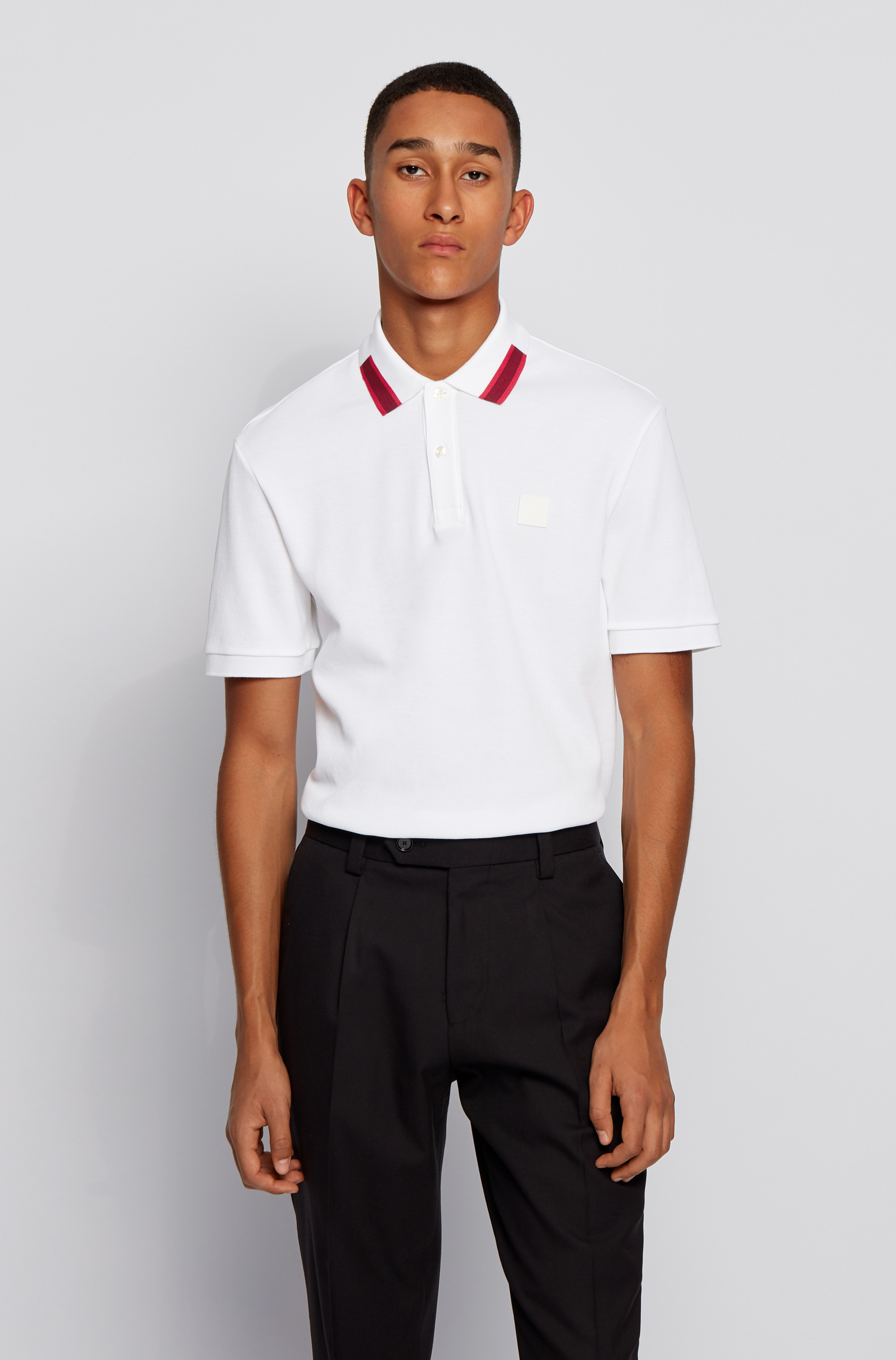 Mercerized cotton polo shirt with contrasting collar BOSS | Polo Shirt | 50442135100