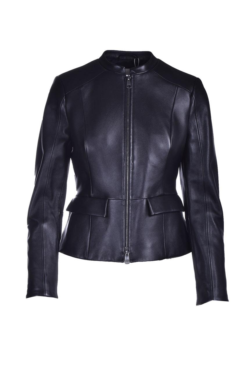 Nappa leather jacket with flared hem BOSS | Jackets | 50442456001