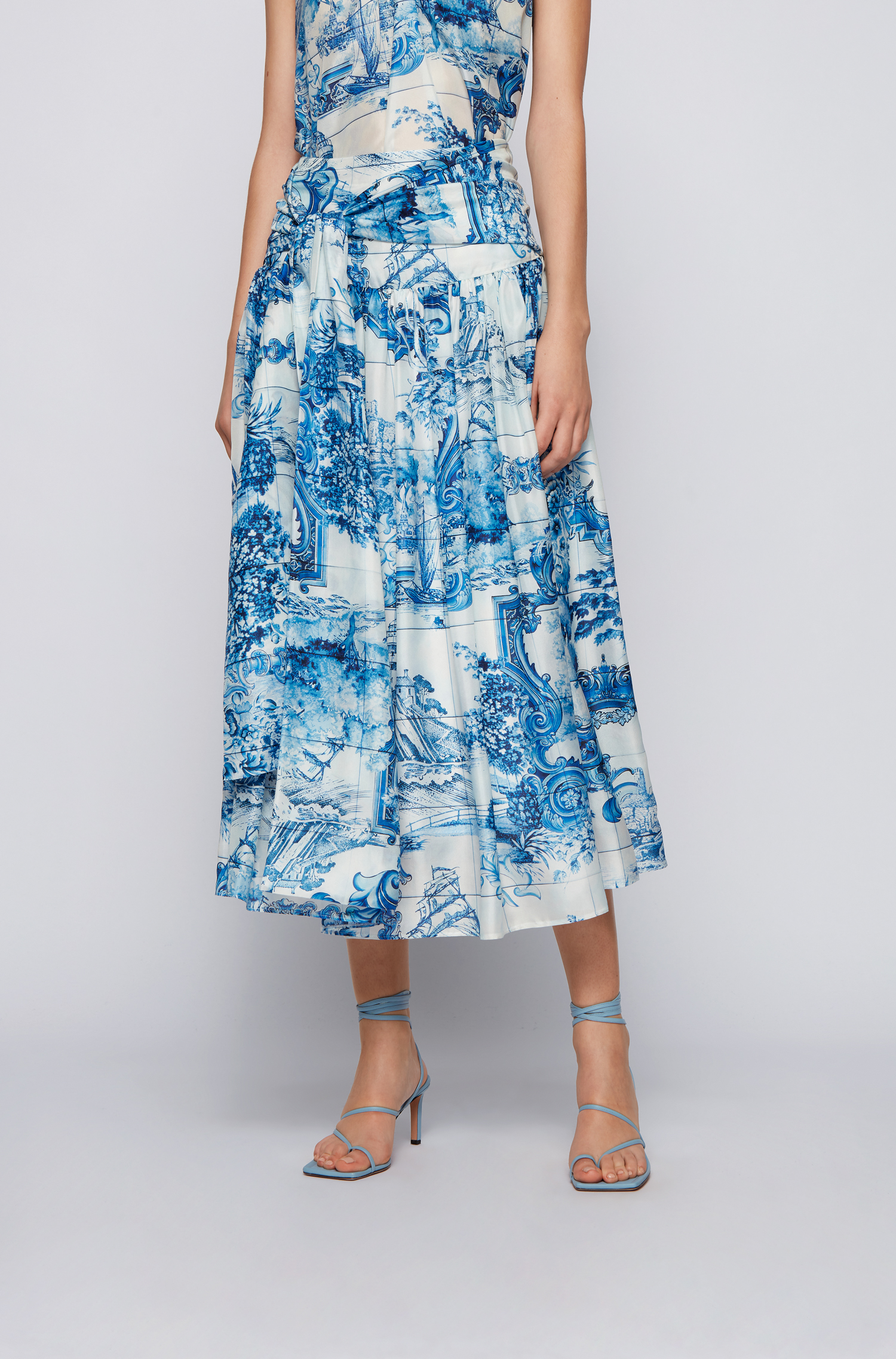 Ruffled skirt in printed silk with bow BOSS   Skirts   50447568976