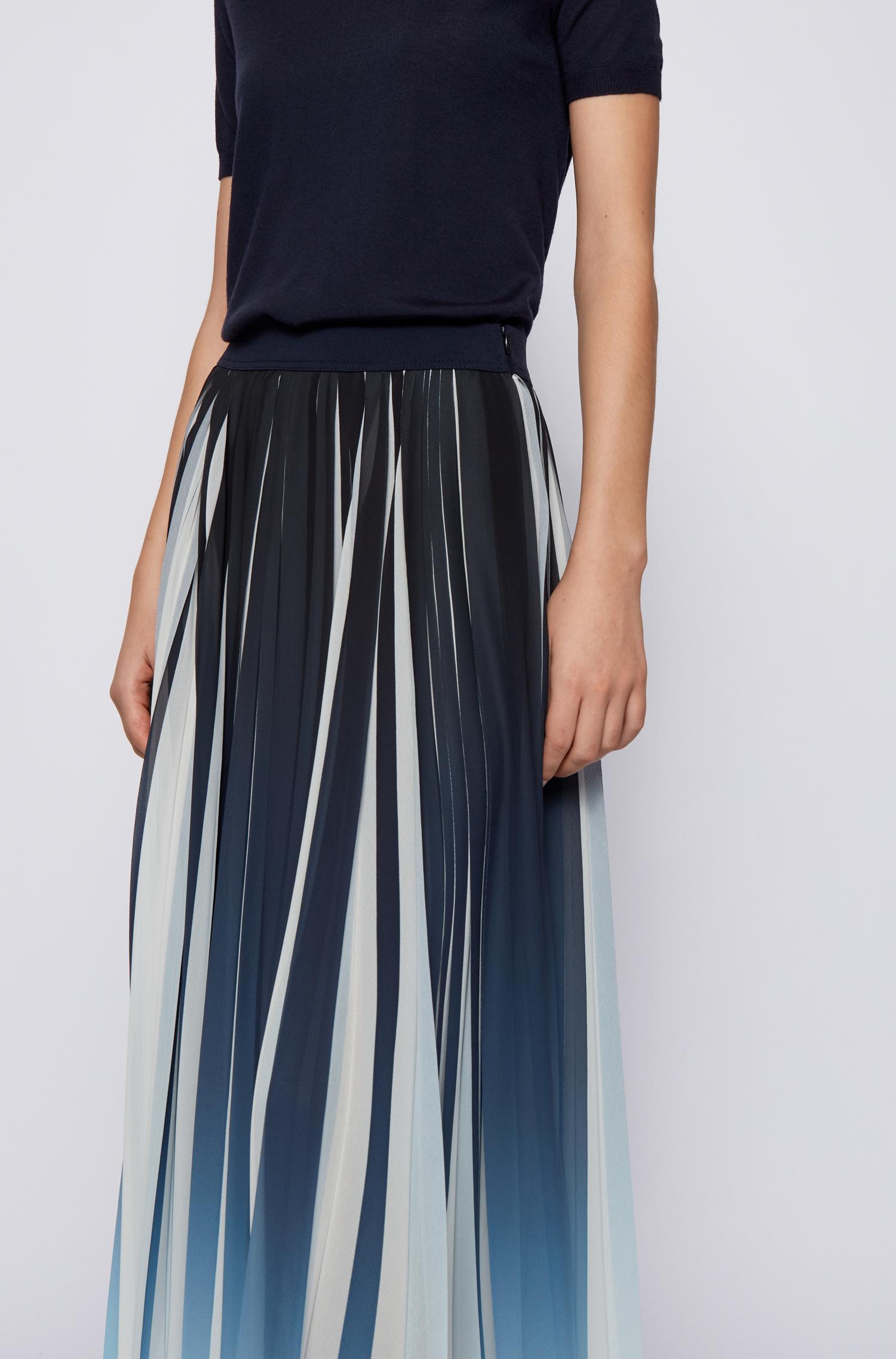 Pleated midi skirt in chiffon with dégradé print BOSS | Skirts | 50447599466
