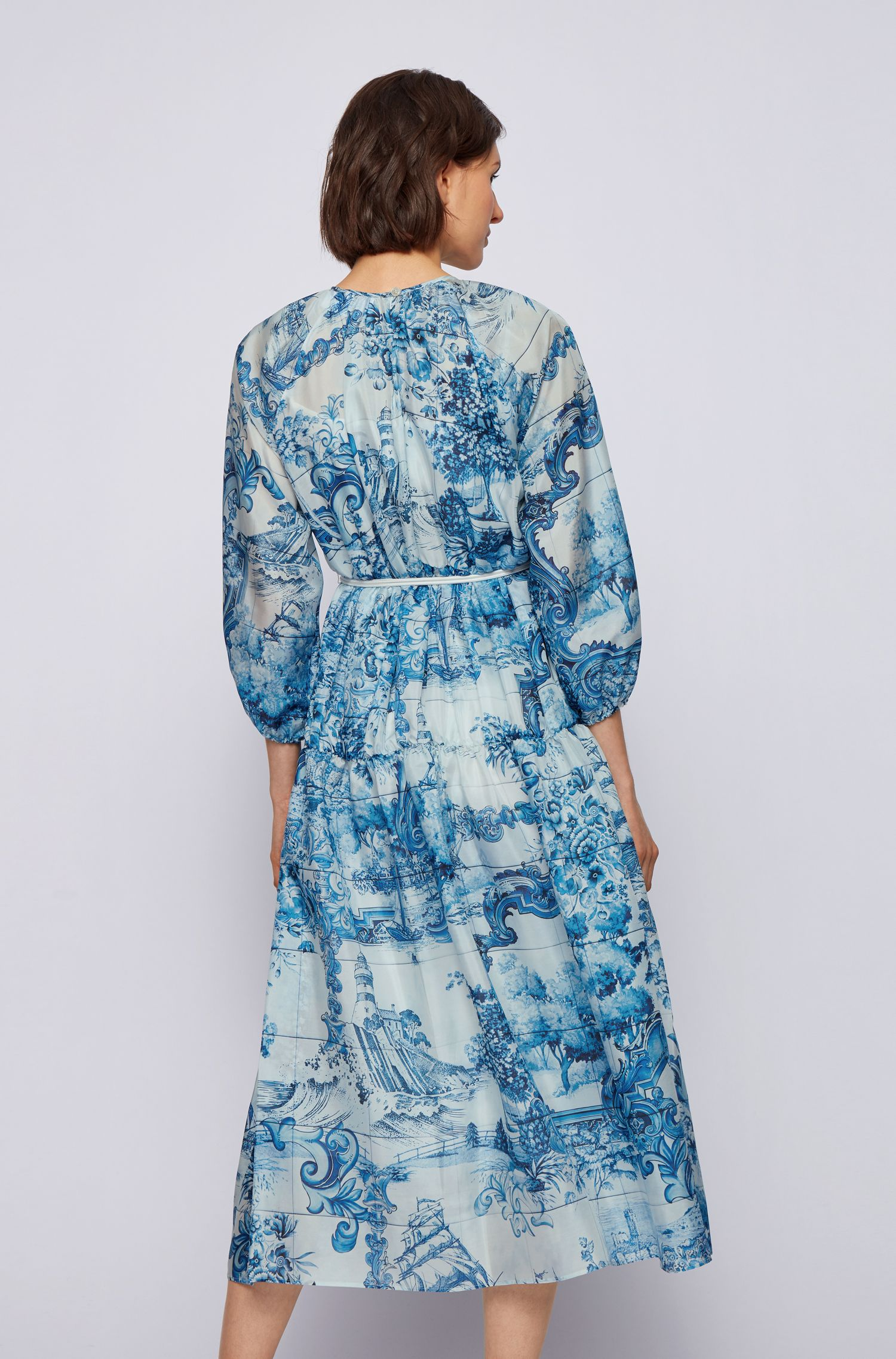 Silk dress with collection print and cord belt BOSS |  | 50447623976