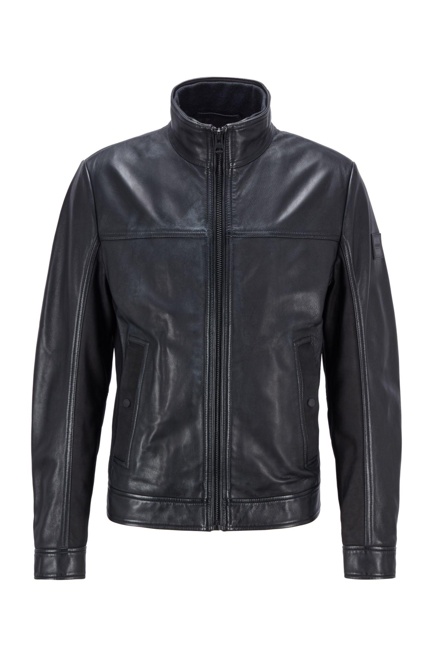 Nappa biker jacket with mixed finishes BOSS | Jackets | 50448034001