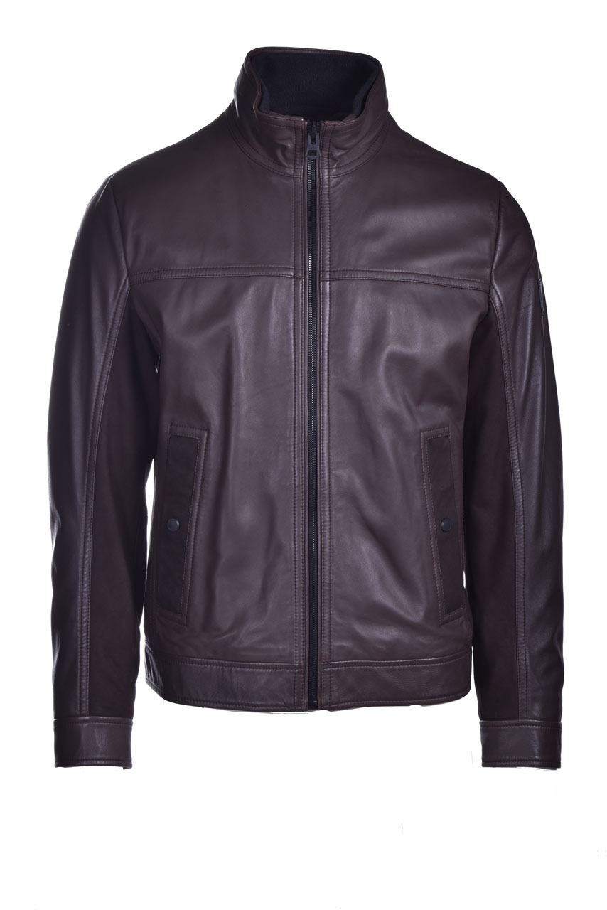 Nappa biker jacket with mixed finishes BOSS | Jackets | 50448034201