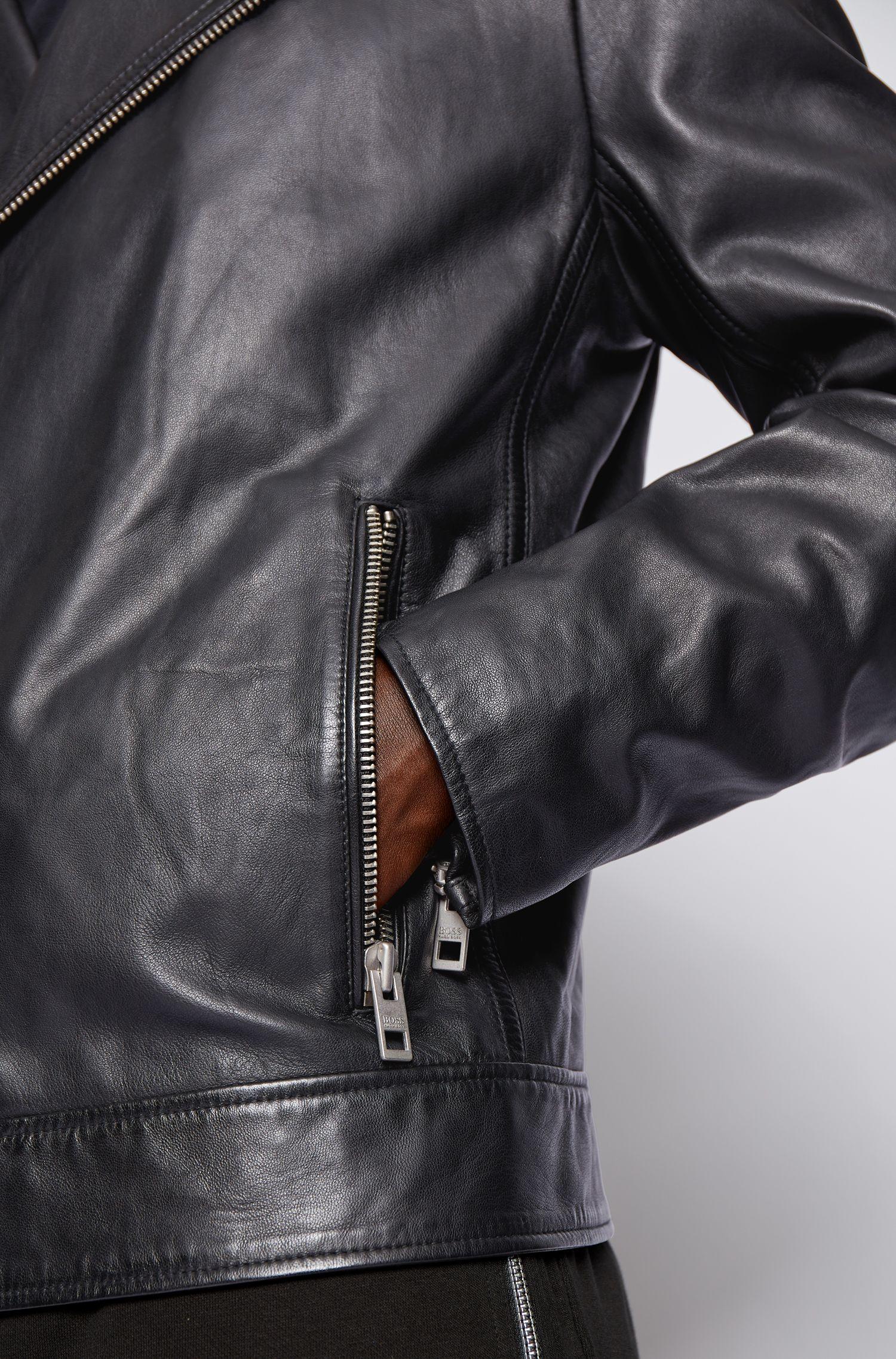 Asymmetric biker jacket in lambskin BOSS | Jackets | 50448037001